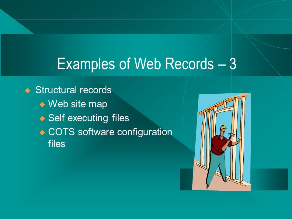 Examples of Web Records – 2 Context records Web design records Copyrighted materials Program management Software to operate the site Logs and statistical compilations
