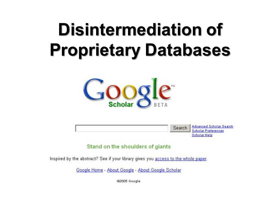 Disintermediation of Proprietary Databases