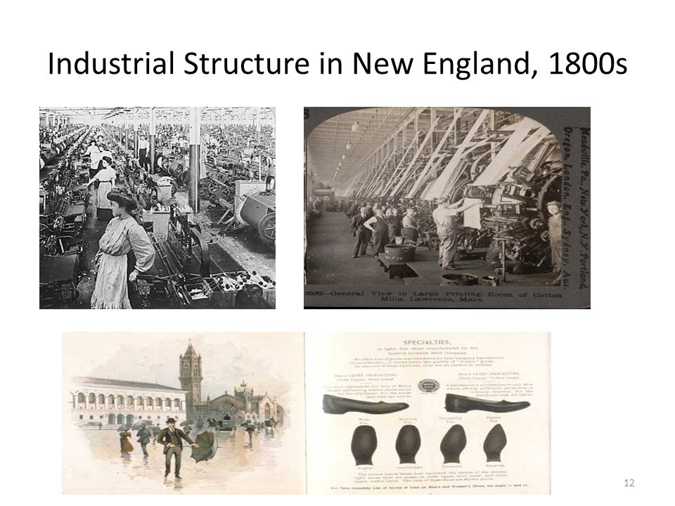 Industrial Structure in New England, 1800s 12