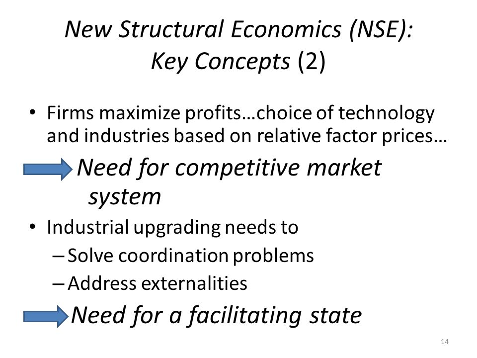 New Structural Economics (NSE): Key Concepts (2) Firms maximize profits…choice of technology and industries based on relative factor prices… Need for competitive market system Industrial upgrading needs to – Solve coordination problems – Address externalities Need for a facilitating state 14