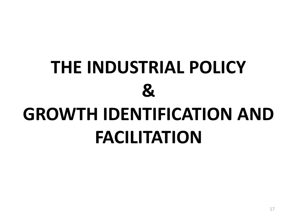 THE INDUSTRIAL POLICY & GROWTH IDENTIFICATION AND FACILITATION 17