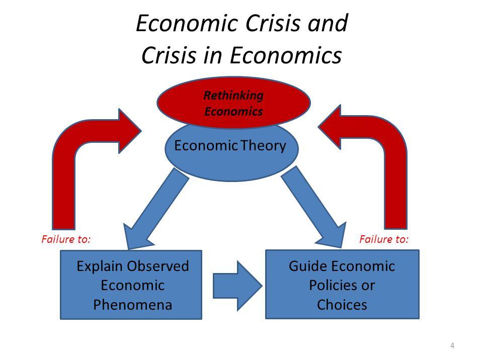 Economic Crisis and Crisis in Economics Economic Theory Explain Observed Economic Phenomena Guide Economic Policies or Choices Rethinking Economics Failure to: 4