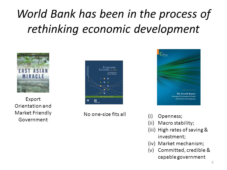 World Bank has been in the process of rethinking economic development Export Orientation and Market Friendly Government (i)Openness; (ii)Macro stabili