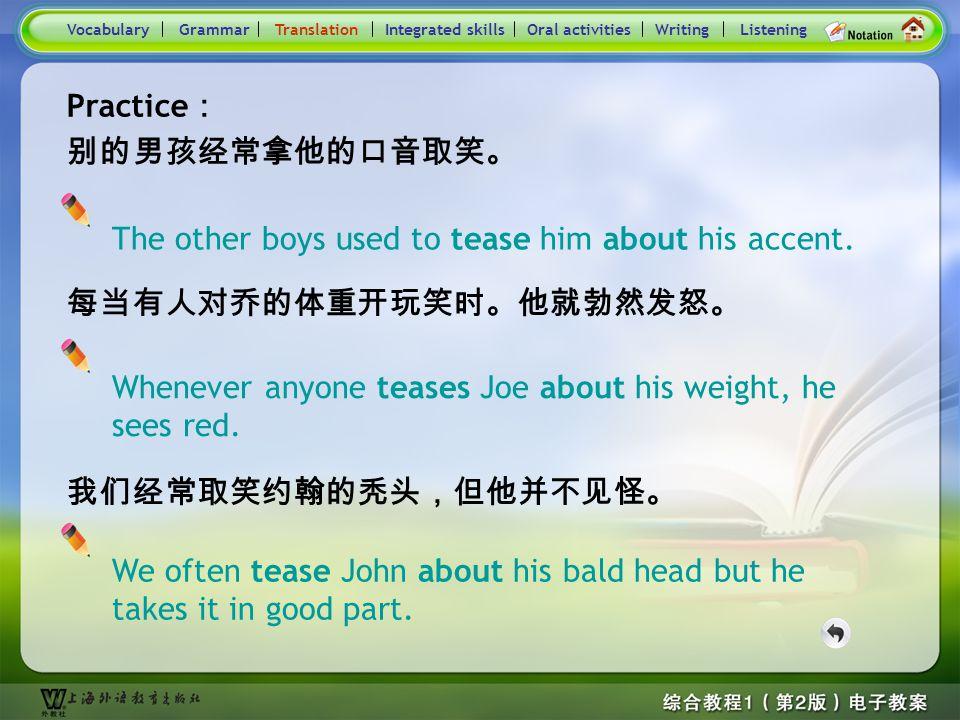 Consolidation Activities- Translation1.1 1. 索菲亚委婉地取笑汤姆那顶新帽子,而汤姆不顾情面地 对她的卷发嘲弄了一番。 ( tease sb. about) If you tease sb. about something, you make fun of