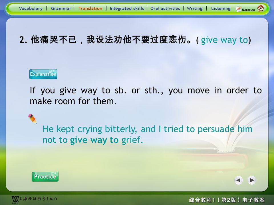 Consolidation Activities- Translation1.2 Practice : 别的男孩经常拿他的口音取笑。 每当有人对乔的体重开玩笑时。他就勃然发怒。 VocabularyTranslationIntegrated skillsOral activitiesWritingL
