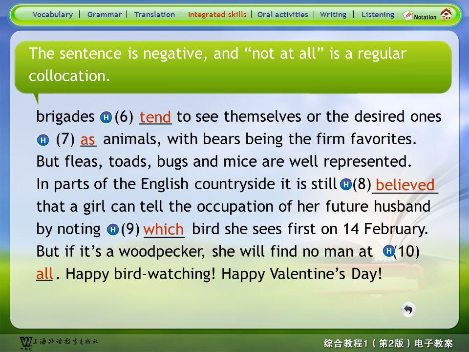 Consolidation Activities- Hints9 VocabularyTranslationIntegrated skillsOral activitiesWritingListeningGrammar Which kind of bird it is? brigades (6) t