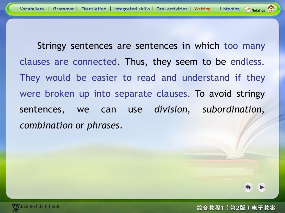 Consolidation Activities- Writing_ main VocabularyTranslationIntegrated skillsOral activitiesWritingListeningGrammar Stringy sentence Practice