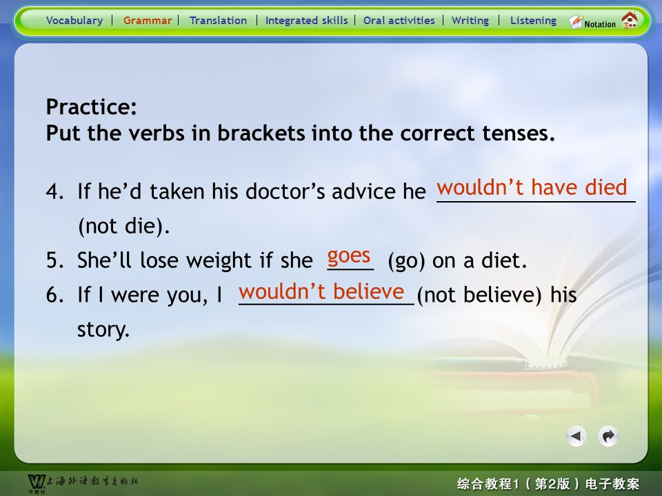 Consolidation Activities- Grammar _P1 Practice: Put the verbs in brackets into the correct tenses. VocabularyTranslationIntegrated skillsOral activiti