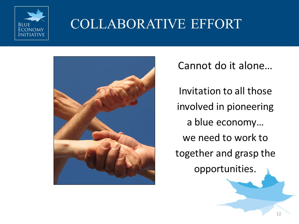 COLLABORATIVE EFFORT 12 Cannot do it alone… Invitation to all those involved in pioneering a blue economy… we need to work to together and grasp the opportunities.