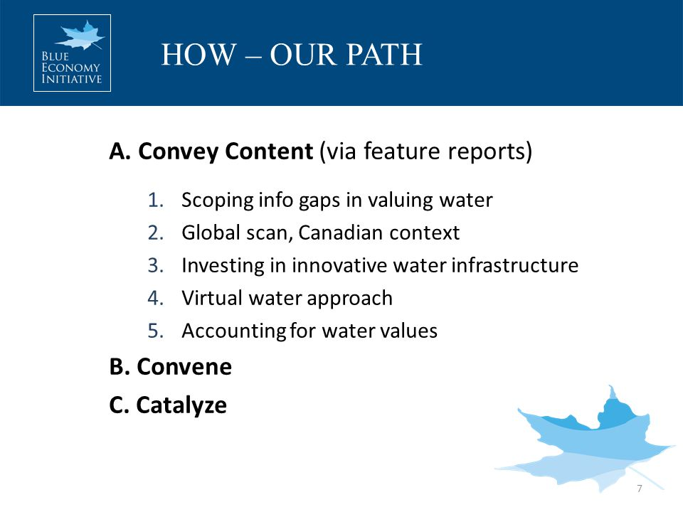 A. Convey Content (via feature reports) 1.Scoping info gaps in valuing water 2.Global scan, Canadian context 3.Investing in innovative water infrastru