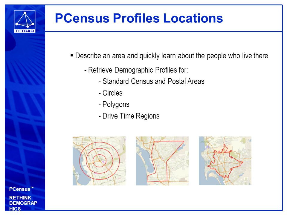 PCensus ™ RETHINK DEMOGRAP HICS PCensus Finds Target Markets  Describe your best customer and find where they live.