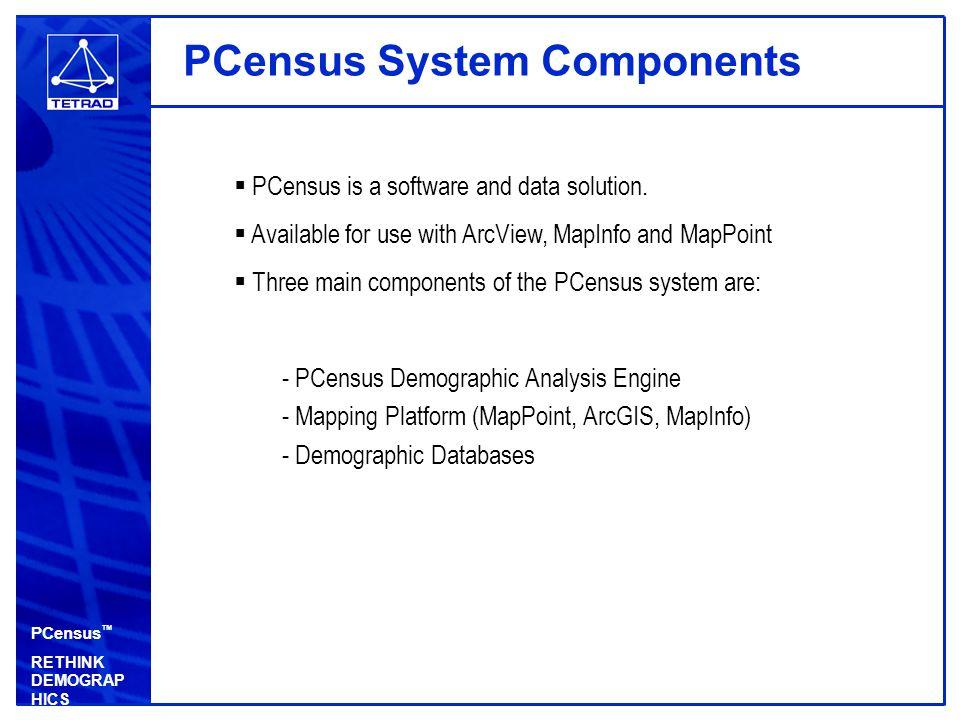 PCensus ™ RETHINK DEMOGRAP HICS Demographic Databases  Tetrad can supply a wide assortment of Canadian demographic data for use with PCensus: - 2006 Census - 2009 Estimates & Projections - 2009 Expenditure Potential - 2009 Daytime Population - 2009 Business Summary - 2009 Lifestyle Segmentation (PRIZM C2 / PSYTE) -i.e Environics Analytics at: http://www.environicsanalytics.ca/ http://www.environicsanalytics.ca/  U.S.