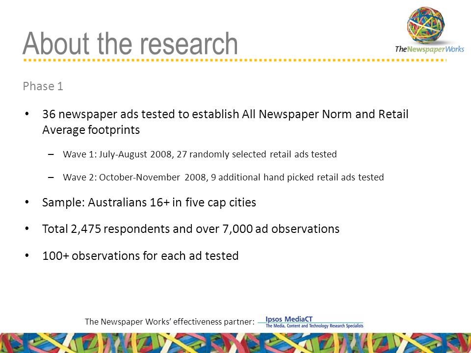 36 newspaper ads tested to establish All Newspaper Norm and Retail Average footprints – Wave 1: July-August 2008, 27 randomly selected retail ads tested – Wave 2: October-November 2008, 9 additional hand picked retail ads tested Sample: Australians 16+ in five cap cities Total 2,475 respondents and over 7,000 ad observations 100+ observations for each ad tested The Newspaper Works' effectiveness partner: About the research Phase 1