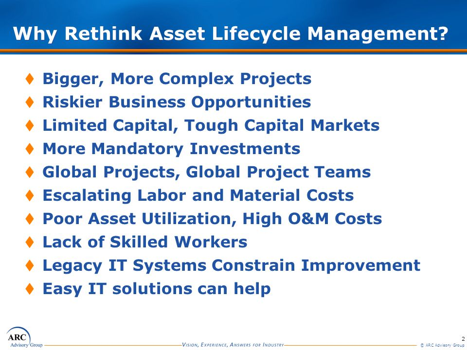 2 © ARC Advisory Group Why Rethink Asset Lifecycle Management?  Bigger, More Complex Projects  Riskier Business Opportunities  Limited Capital, Tou