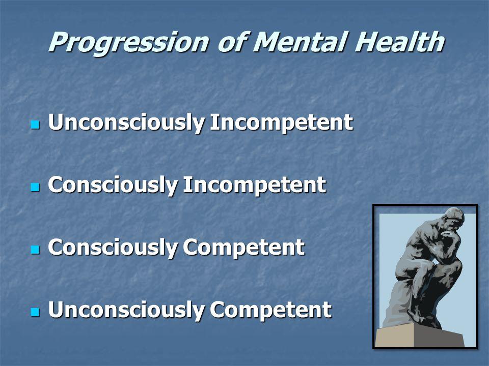 Progression of Mental Health Unconsciously Incompetent Unconsciously Incompetent Consciously Incompetent Consciously Incompetent Consciously Competent Consciously Competent Unconsciously Competent Unconsciously Competent
