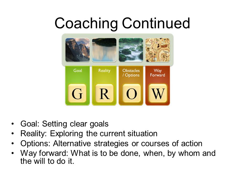 Coaching Continued Goal: Setting clear goals Reality: Exploring the current situation Options: Alternative strategies or courses of action Way forward: What is to be done, when, by whom and the will to do it.