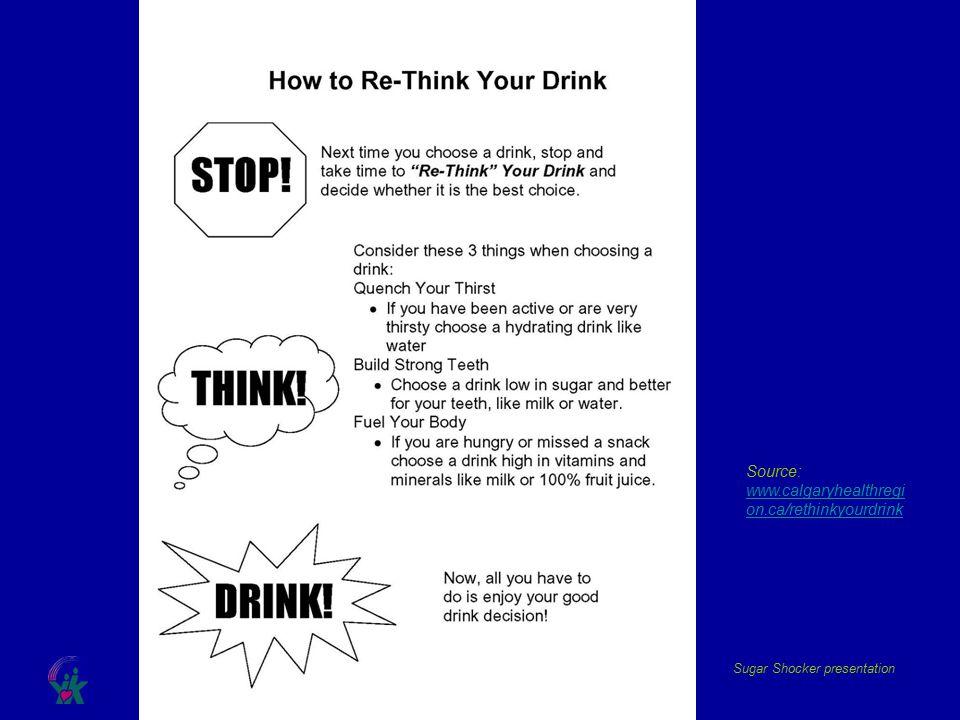 Sugar Shocker presentation Source: www.calgaryhealthregi on.ca/rethinkyourdrink www.calgaryhealthregi on.ca/rethinkyourdrink