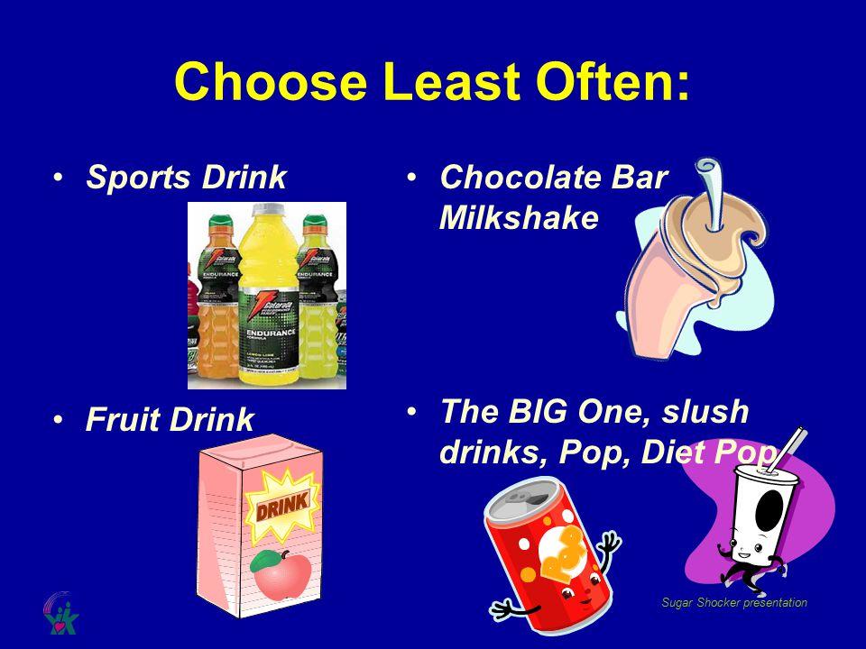 Sugar Shocker presentation Chocolate Bar Milkshake The BIG One, slush drinks, Pop, Diet Pop Choose Least Often: Sports Drink Fruit Drink