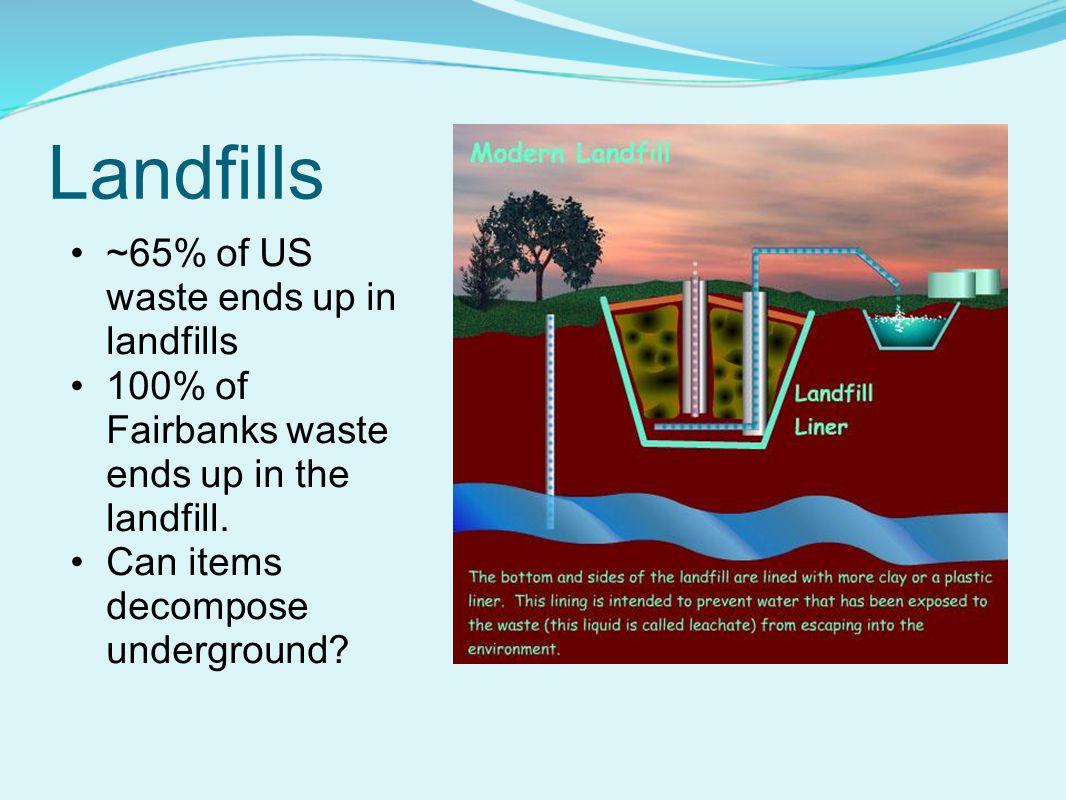Landfills ~65% of US waste ends up in landfills 100% of Fairbanks waste ends up in the landfill.