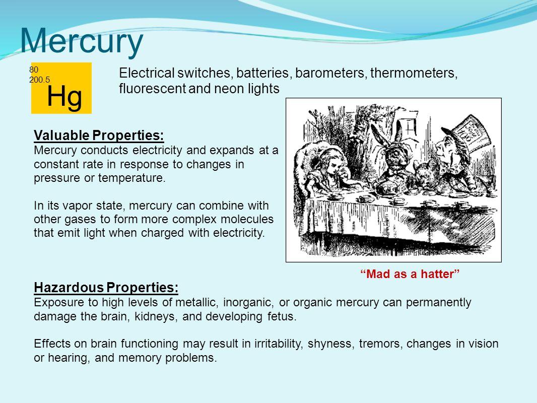 Mercury 80 200.5 Hazardous Properties: Exposure to high levels of metallic, inorganic, or organic mercury can permanently damage the brain, kidneys, and developing fetus.