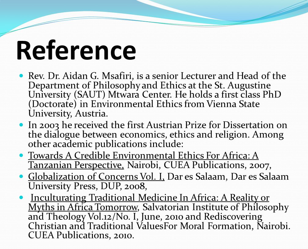 Reference Rev. Dr. Aidan G.