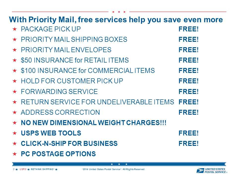 USPS ® RETHINK SHIPPING ™  © 2014 United States Postal Service ®. All Rights Reserved. With Priority Mail, free services help you save even more 
