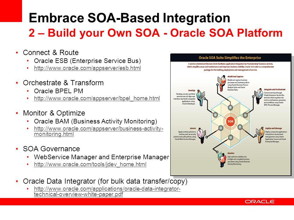 Embrace SOA-Based Integration 2 – Build your Own SOA - Oracle SOA Platform Connect & Route Oracle ESB (Enterprise Service Bus) http://www.oracle.com/a