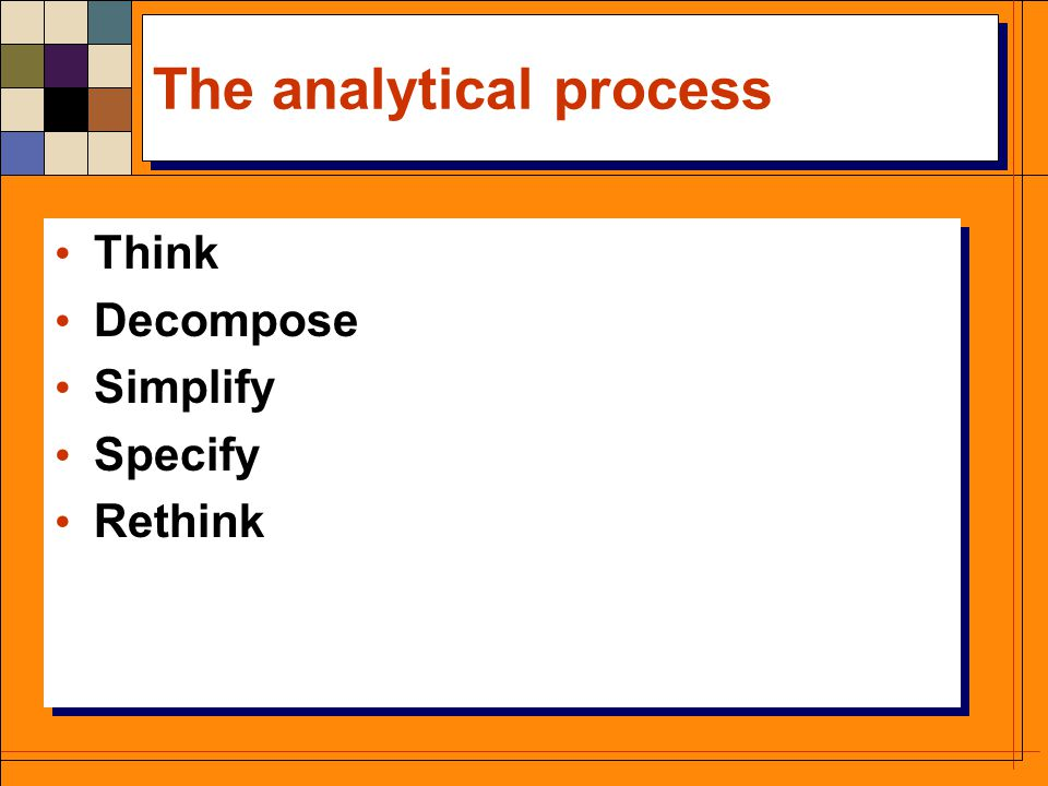 The analytical process Think Decompose Simplify Specify Rethink Think Decompose Simplify Specify Rethink