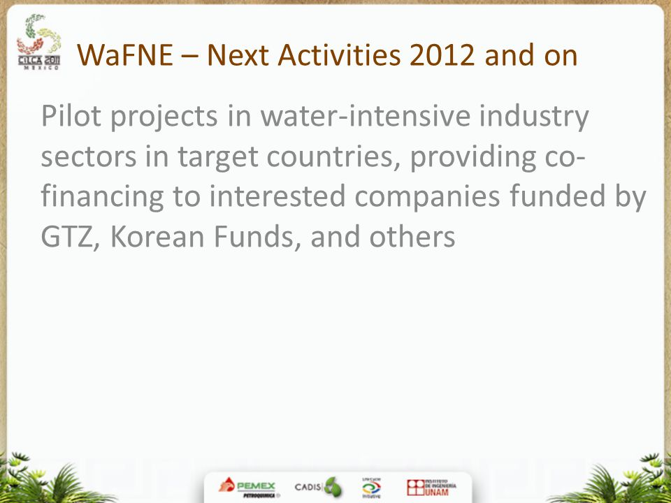 WaFNE – Next Activities 2012 and on Pilot projects in water-intensive industry sectors in target countries, providing co- financing to interested comp