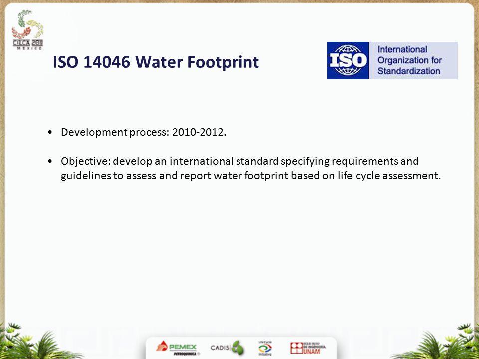 ISO 14046 Water Footprint Development process: 2010-2012.