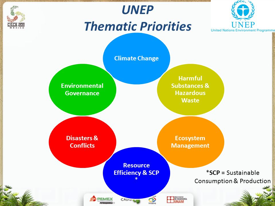 UNEP Thematic Priorities Climate Change Harmful Substances & Hazardous Waste Ecosystem Management Resource Efficiency & SCP * Disasters & Conflicts Environmental Governance *SCP = Sustainable Consumption & Production