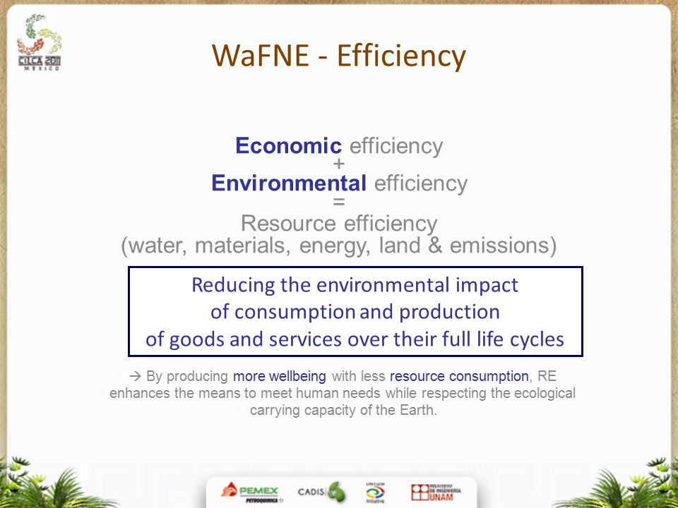 WaFNE - Efficiency Economic efficiency + Environmental efficiency = Resource efficiency (water, materials, energy, land & emissions)   By producing more wellbeing with less resource consumption, RE  enhances the means to meet human needs while respecting the ecological  carrying capacity of the Earth.