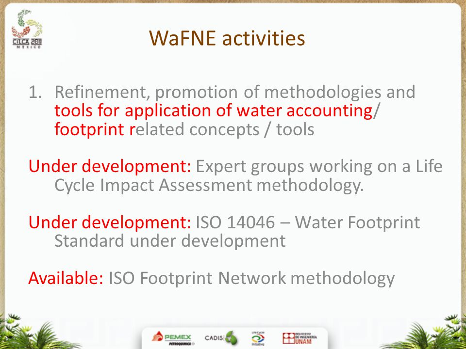 WaFNE activities 1.Refinement, promotion of methodologies and tools for application of water accounting/ footprint related concepts / tools Under development: Expert groups working on a Life Cycle Impact Assessment methodology.