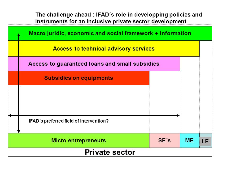 The challenge ahead : IFAD´s role in developping policies and instruments for an inclusive private sector development Private sector Micro entrepreneursSE´sME Macro juridic, economic and social framework + Information Access to technical advisory services Access to guaranteed loans and small subsidies Subsidies on equipments LE IFAD´s preferred field of intervention