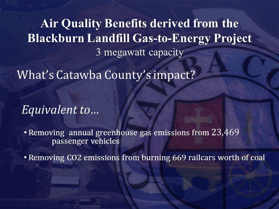 Air Quality Benefits derived from theAir Quality Benefits derived from the Blackburn Landfill Gas-to-Energy ProjectBlackburn Landfill Gas-to-Energy Pr