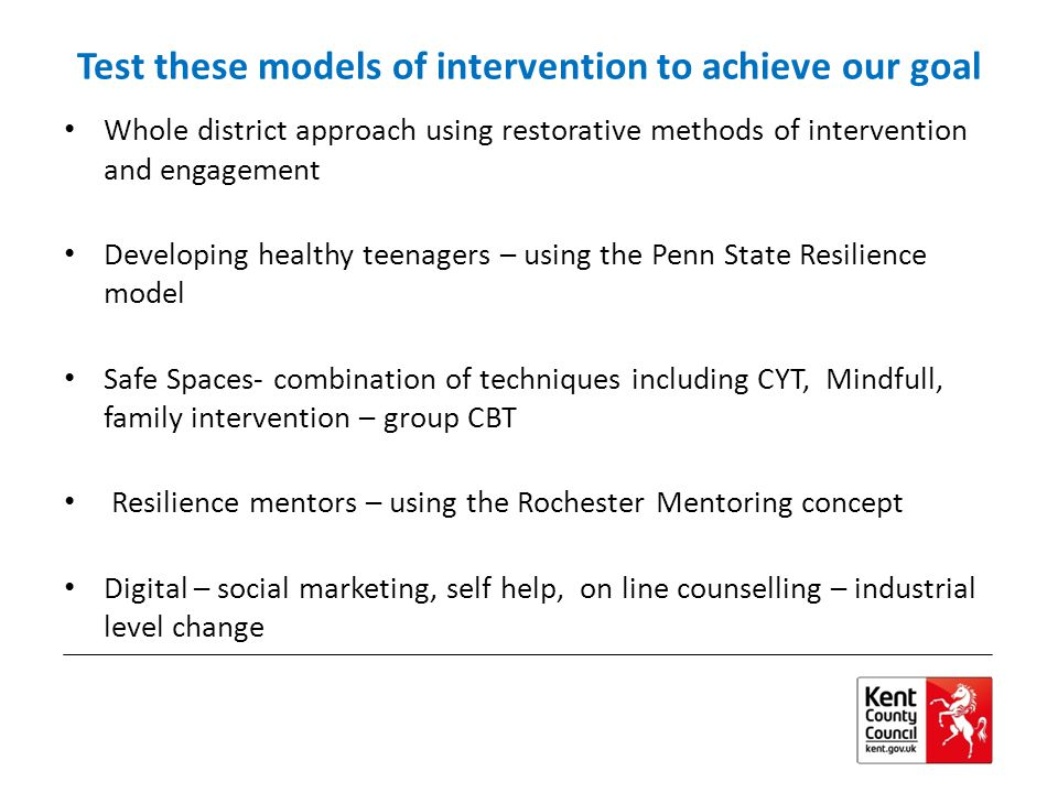 Test these models of intervention to achieve our goal Whole district approach using restorative methods of intervention and engagement Developing healthy teenagers – using the Penn State Resilience model Safe Spaces- combination of techniques including CYT, Mindfull, family intervention – group CBT Resilience mentors – using the Rochester Mentoring concept Digital – social marketing, self help, on line counselling – industrial level change