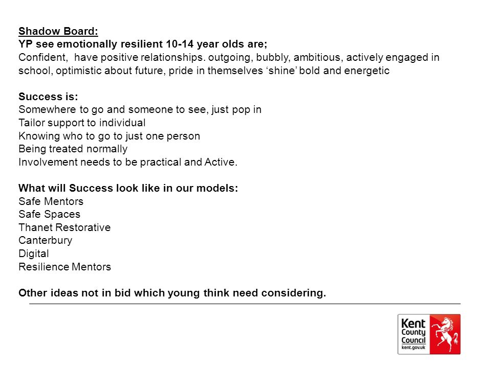 Shadow Board: YP see emotionally resilient 10-14 year olds are; Confident, have positive relationships.