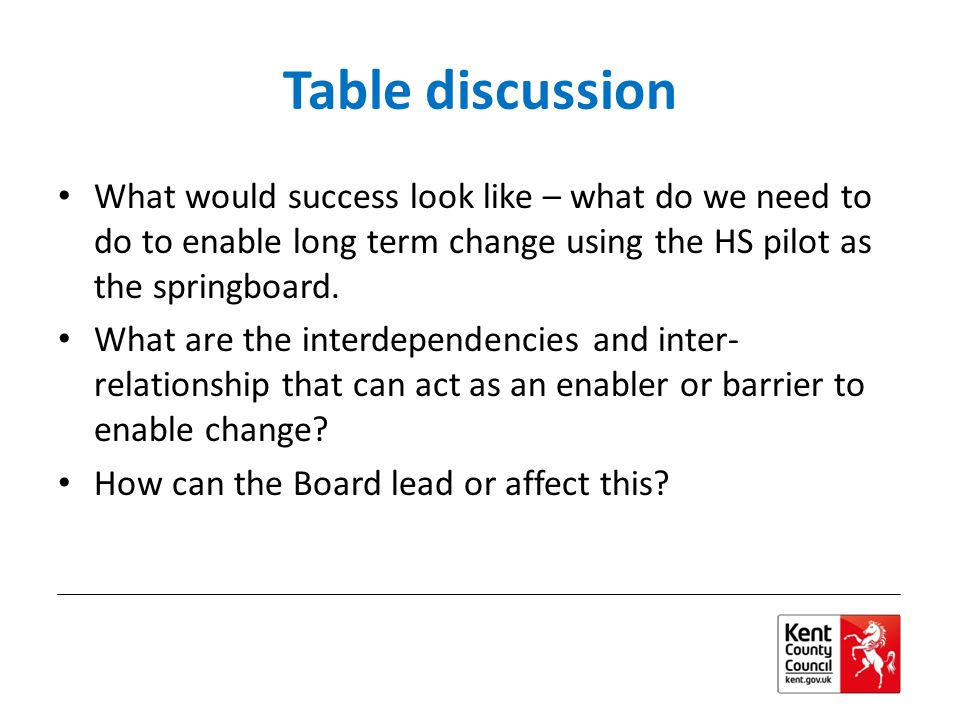 Table discussion What would success look like – what do we need to do to enable long term change using the HS pilot as the springboard.