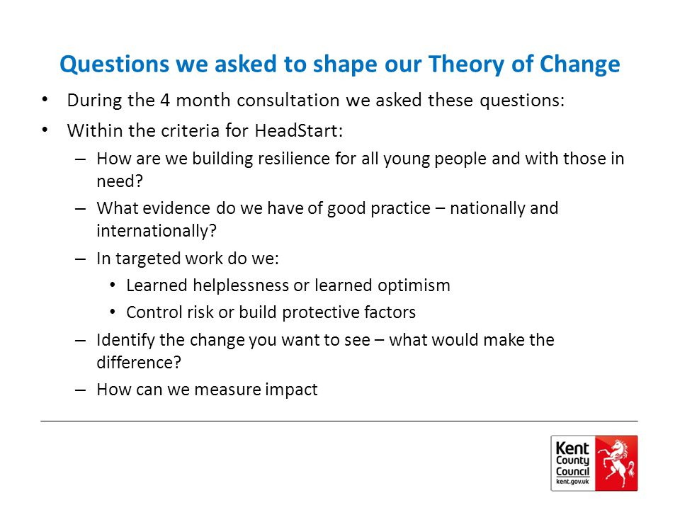 Questions we asked to shape our Theory of Change During the 4 month consultation we asked these questions: Within the criteria for HeadStart: – How are we building resilience for all young people and with those in need.