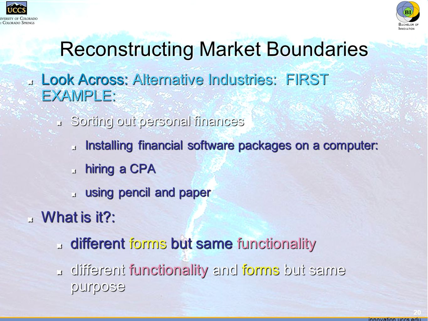innovation.uccs.edu B ACHELOR OF I NNOVATION ™ innovation.uccs.edu B ACHELOR OF I NNOVATION ™ Reconstructing Market Boundaries Look Across: Alternative Industries: FIRST EXAMPLE: Sorting out personal finances Installing financial software packages on a computer: hiring a CPA using pencil and paper What is it : different forms but same functionality different functionality and forms but same purpose 20
