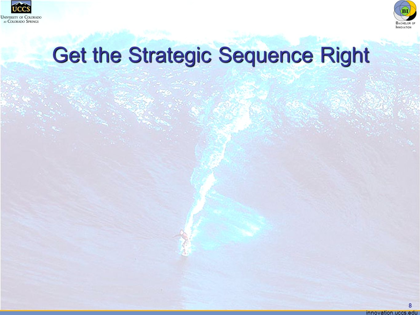 innovation.uccs.edu B ACHELOR OF I NNOVATION ™ Get the Strategic Sequence Right 8