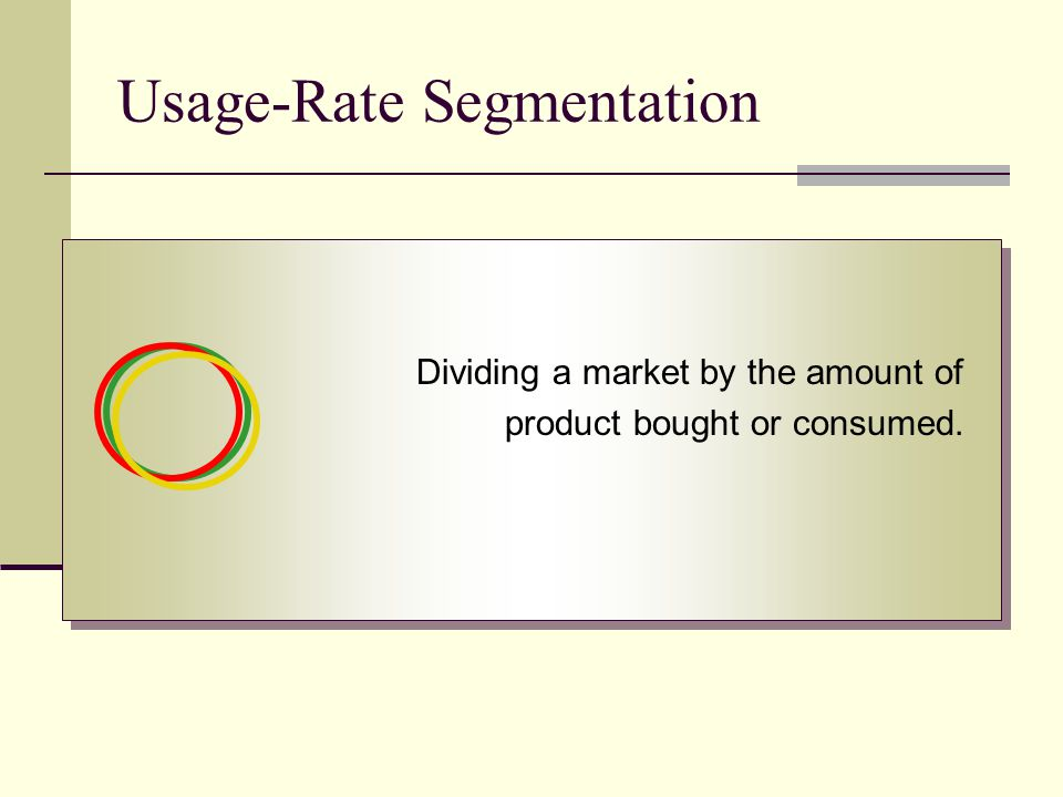 Usage-Rate Segmentation Dividing a market by the amount of product bought or consumed.