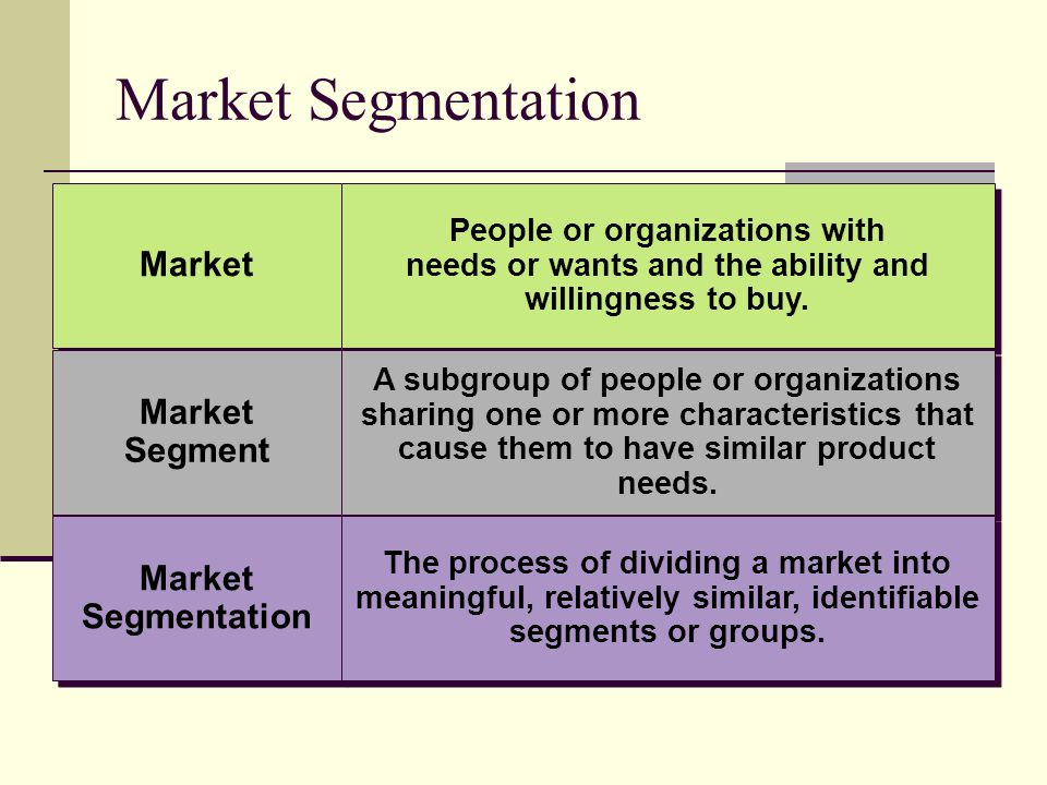 Market Segmentation Market Segment Market Segment Market Segmentation Market Segmentation People or organizations with needs or wants and the ability and willingness to buy.