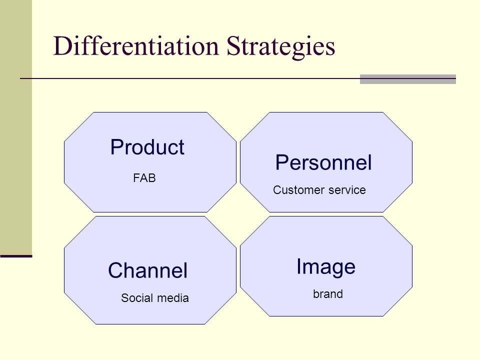 Differentiation Strategies Product Channel Image Personnel Social media FAB Customer service brand
