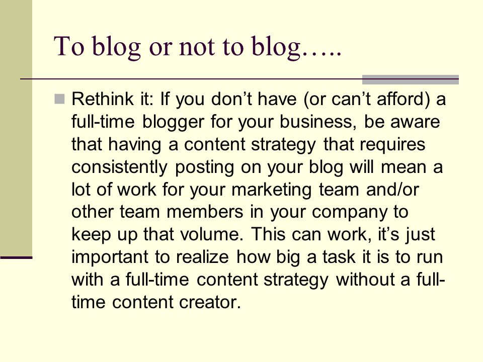To blog or not to blog…..