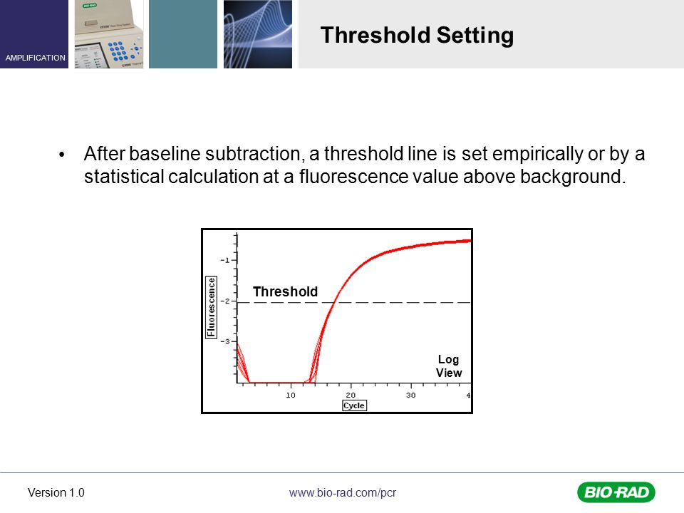 www.bio-rad.com/pcr AMPLIFICATION Version 1.0 Threshold Setting After baseline subtraction, a threshold line is set empirically or by a statistical calculation at a fluorescence value above background.