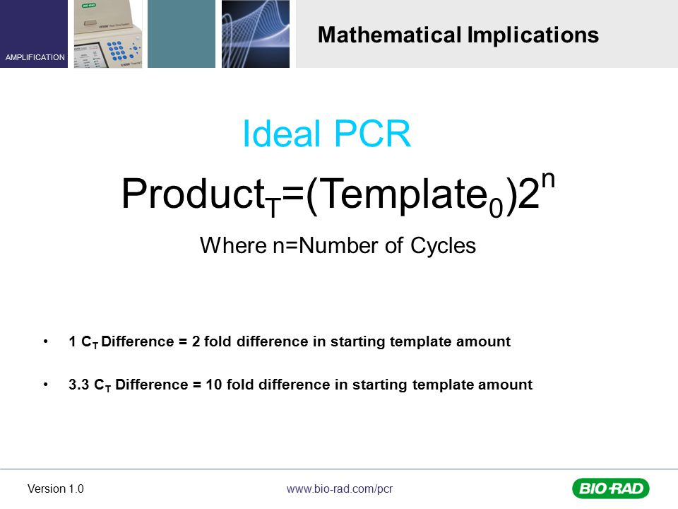 www.bio-rad.com/pcr AMPLIFICATION Version 1.0 1 C T Difference = 2 fold difference in starting template amount 3.3 C T Difference = 10 fold difference in starting template amount Product T =(Template 0 )2 n Where n=Number of Cycles Mathematical Implications Ideal PCR