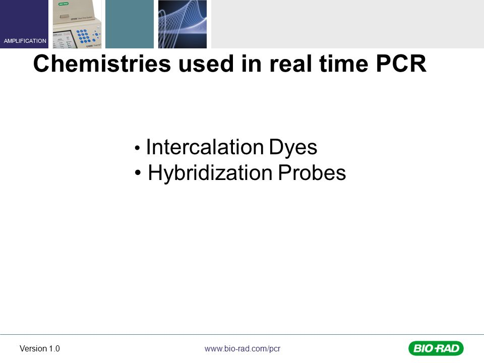 www.bio-rad.com/pcr AMPLIFICATION Version 1.0 Intercalation Dyes Hybridization Probes Chemistries used in real time PCR
