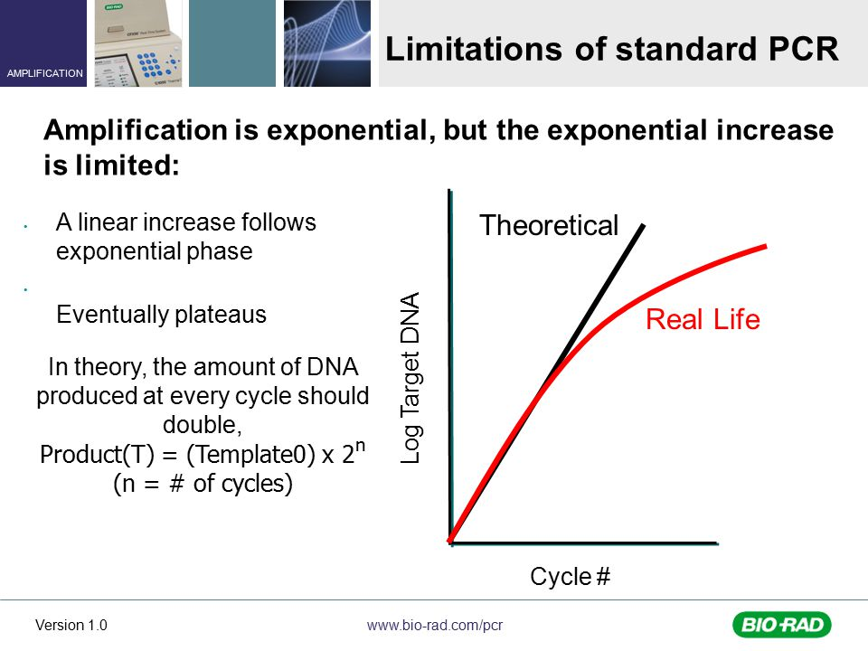 www.bio-rad.com/pcr AMPLIFICATION Version 1.0 A linear increase follows exponential phase Eventually plateaus Cycle # Theoretical Real Life Log Target DNA Limitations of standard PCR Amplification is exponential, but the exponential increase is limited: In theory, the amount of DNA produced at every cycle should double, Product(T) = (Template0) x 2 n (n = # of cycles)
