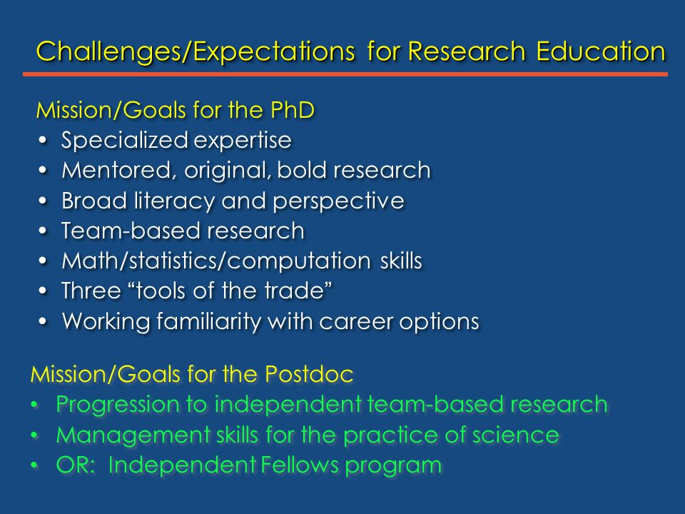 Mission/Goals for the PhD Specialized expertise Mentored, original, bold research Broad literacy and perspective Team-based research Math/statistics/c
